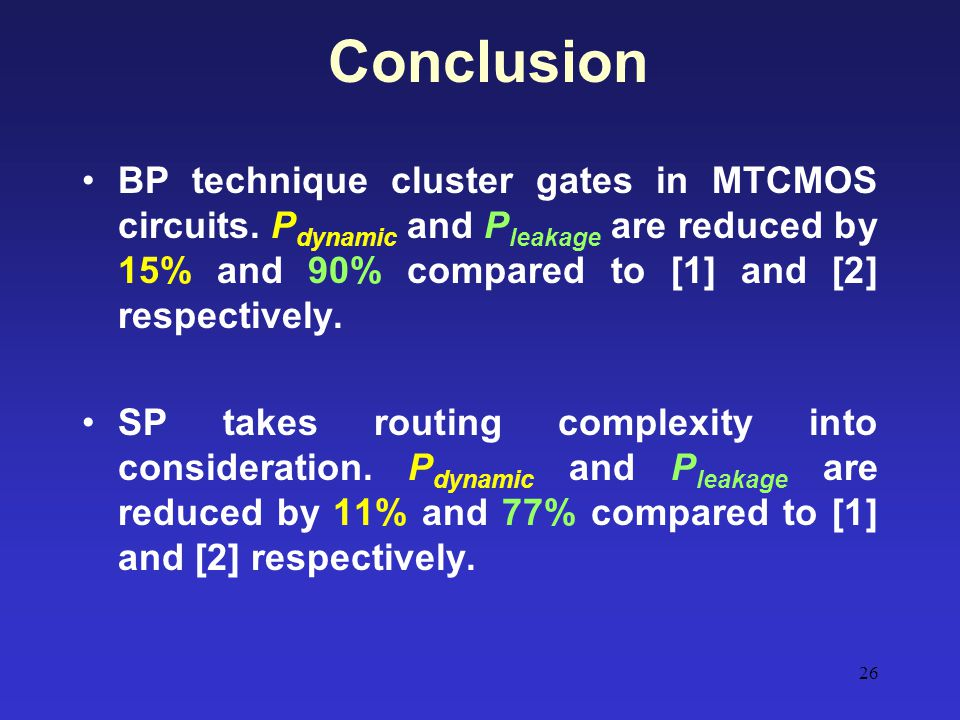 Conclusion BP technique cluster gates in MTCMOS circuits. Pdynamic and Pleakage are reduced by 15% and 90% compared to [1] and [2] respectively.